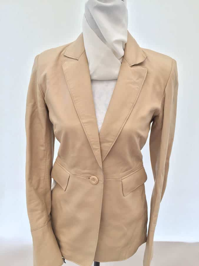 Press and Bastyan Cream Leather Blazer - size 10 (rrp £299 ... e1a978e3d3